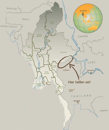 Landkarte Burma mit Einsatzgebiet von between borders